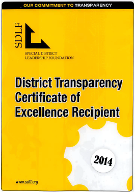 District Transparency Certificate of Excellence for Saratoga Fire Protection District from SDLF