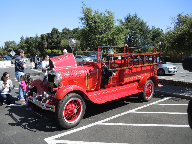 Model AA Fire Engine in parking lot